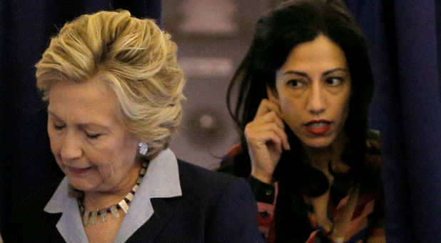Hillary Clinton with top aide Huma Abedin. (REUTERS/Brian Snyder)