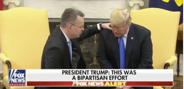 President Trump receives prayer from Pastor Andrew Brunson