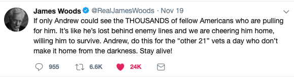 Suicidal Follower of James Woods Prompts Action On Twitter
