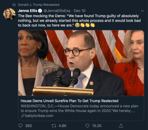 Story connected to Trump triggers Snopes who fact-checks him because of Babylon Bee satire article.