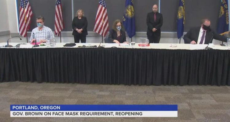 Oregon Gov Brown mask mandate with non white exception for one county